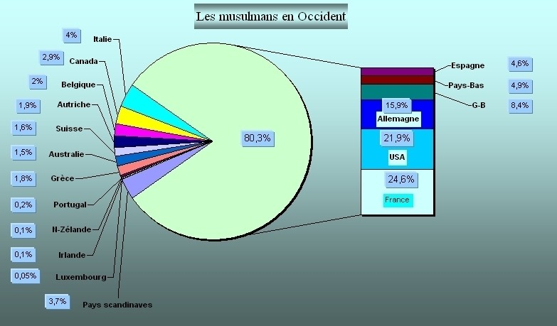 Fig.1 : Distribution des musulmans en Occident  [1-7]