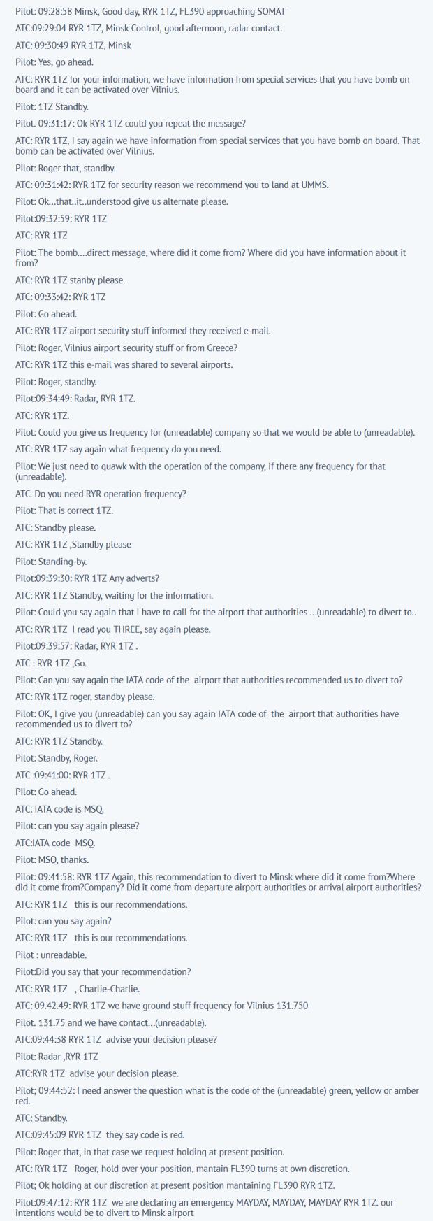 Transcription de la discussion entre l'aiguilleur bi