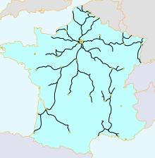 Le réseau ferroviaire français en 1856
