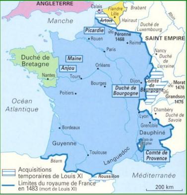 Limites du royaume de France en 1483 à la mort de Louis XI