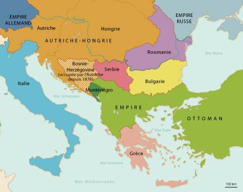 Carte des Balkans au XIXème siècle