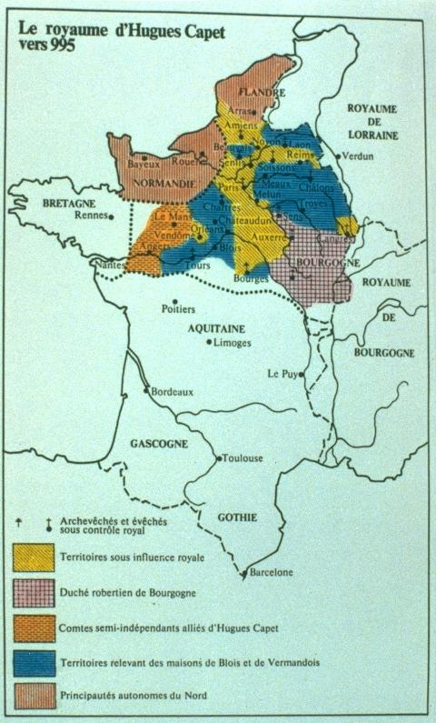 Le royaume d'Hugues Capet vers 995