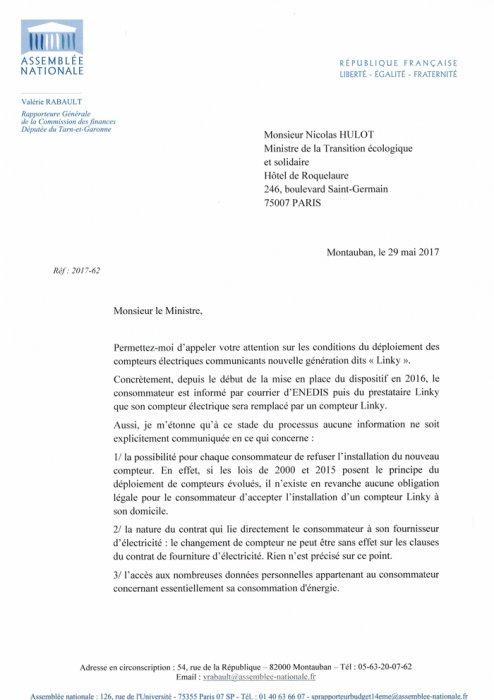 Les compteurs électriques Linky ne sont pas obligatoires, lire la lettre de la raporteur générale de la commission des finances {JPEG}