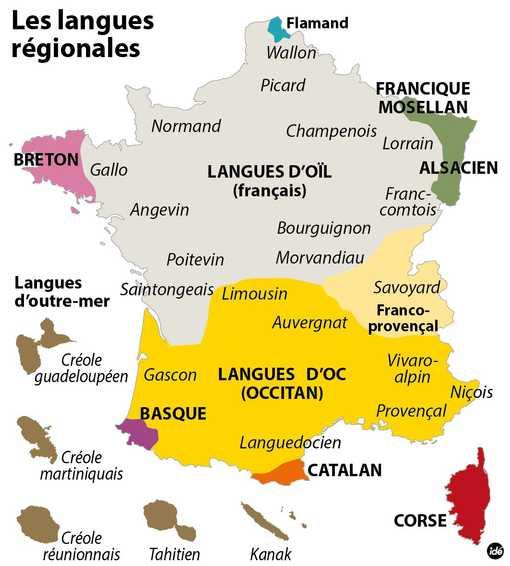 Carte des langues régionales