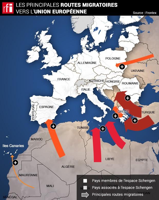 Pourquoi les flux migratoires déstabilisent l'Union européenne Carte-routes-migratoires-620-b63a6